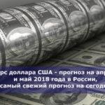 Курс доллара США — прогноз на апрель и май 2018 года в России, самый свежий прогноз на сегодня