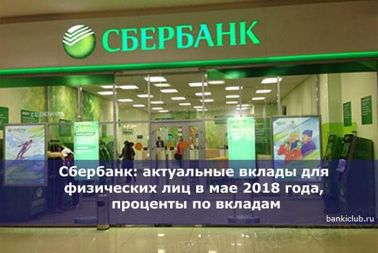 Сбербанк: актуальные вклады для физических лиц в мае 2018 года, проценты по вкладам