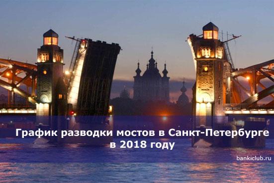 График разводки мостов в Санкт-Петербурге в 2020 году