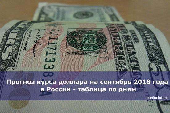 Прогноз курса доллара на сентябрь 2018 года в России - таблица по дням