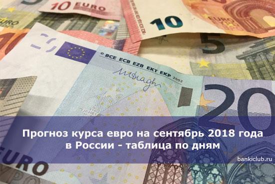Прогноз курса евро на сентябрь 2018 года в России - таблица по дням