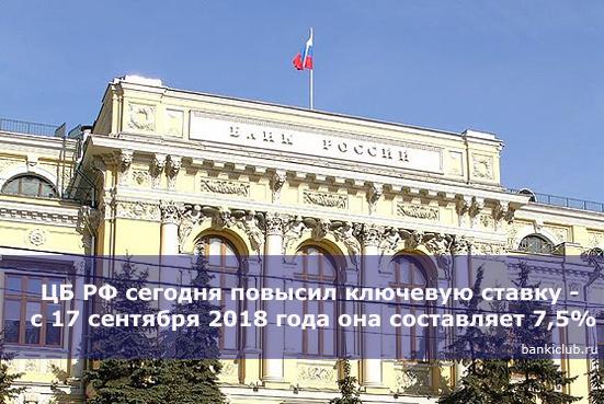 ЦБ РФ сегодня повысил ключевую ставку - с 17 сентября 2018 года она составляет 7,5%
