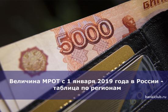 Величина МРОТ с 1 января 2019 года в России - таблица по регионам