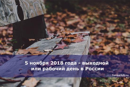 5 ноября 2018 года - выходной или рабочий день в России