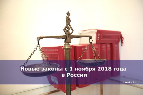 Новые законы с 1 ноября 2018 года в России