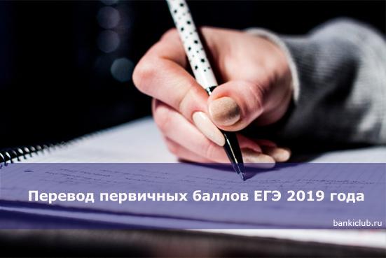Перевод первичных баллов ЕГЭ 2020 года