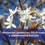 Весенние каникулы 2019 года у школьников России