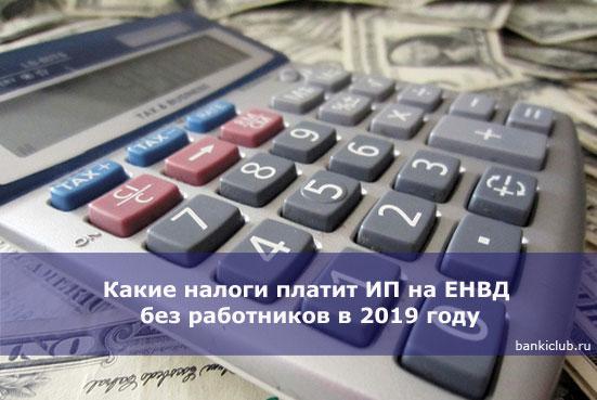 Какие налоги платит ИП на ЕНВД без работников в 2019 году