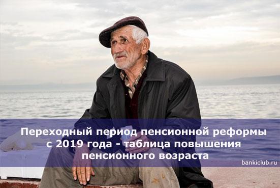 Переходный период пенсионной реформы с 2019 года - таблица повышения пенсионного возраста