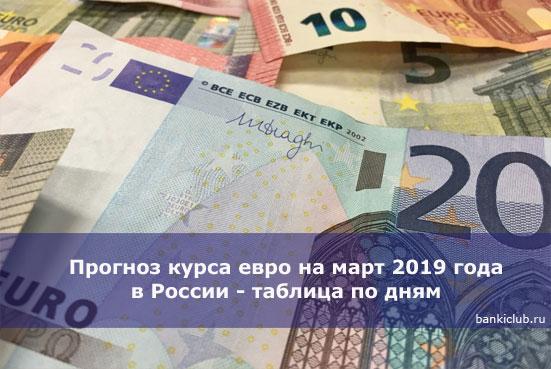 Прогноз курса евро на март 2020 года в России - таблица по дням