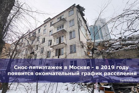 Снос пятиэтажек в Москве - в 2019 году появится окончательный график расселения