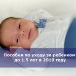 Пособия по уходу за ребенком до 1.5 лет в 2019 году