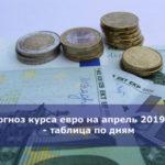 Прогноз курса евро на апрель 2019 года — таблица по дням