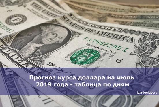 Прогноз курса доллара на июль 2020 года - таблица по дням