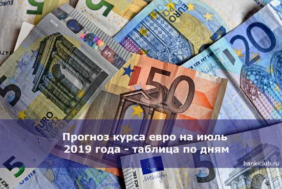 Прогноз курса евро на июль 2020 года - таблица по дням