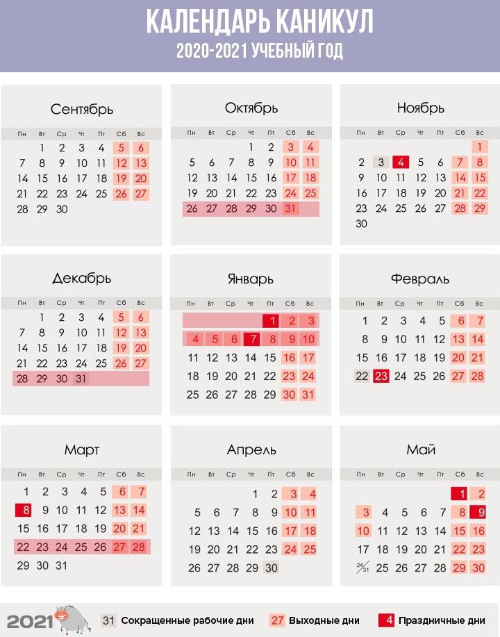 Примерный график каникул на 2020-2021 год для учеников в России
